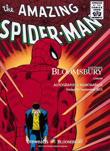 Bloomsbury Auctions, has an Autographs and Memorabilia event coming up on September 4th. The catalogue cover features a rare Spiderman comic.